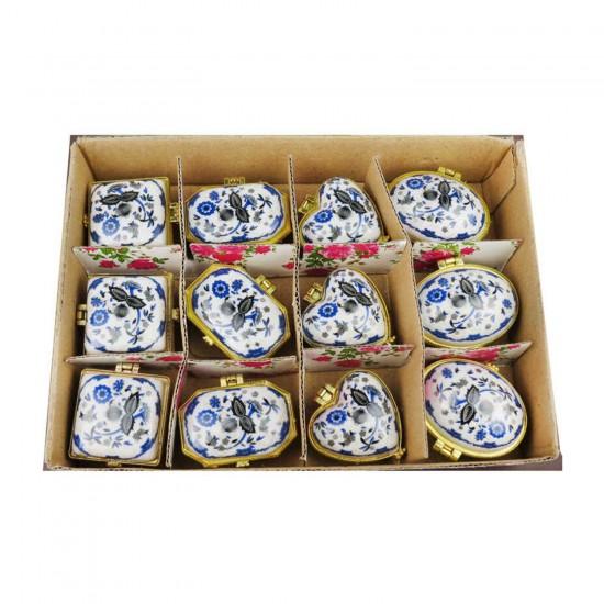 Altın Kutu  Mavi Çiçekli (12 Adet)