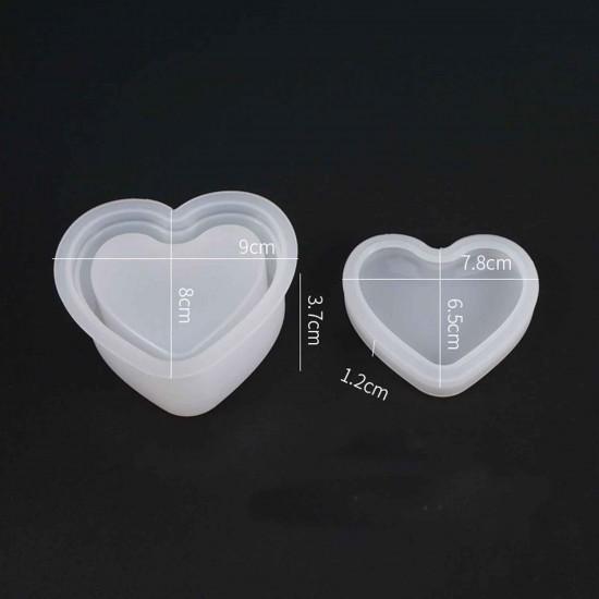 Epoksi Silikon Kalıp Mücevher Saklama Kutusu Kalp Modeli 8X9 CM