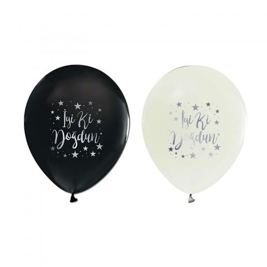 Balon İyiki Doğdun Yazılı Gümüş Yıldızlı (20 Adet)