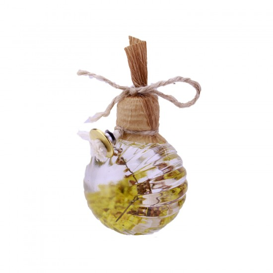 Cam Çizgili Balon Kandil Şişesi Çiçek Süslü 50 CC (10 Adet)