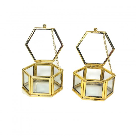 Cam Takı  Mücevher Ve Yüzük Kutusu Altıgen  8 CM