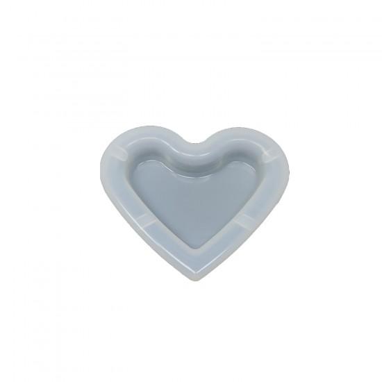 Epoksi Silikon Kalıp Küllük Kalıbı Kalp Modeli  9.5 CM