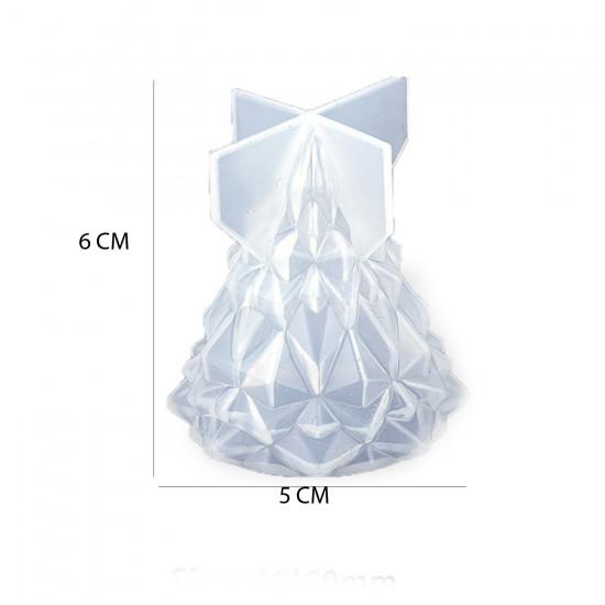 Epoksi Silikon Kalıp Yılbaşı Ağacı Kristal Kalıp 6 CM  X 5 CM
