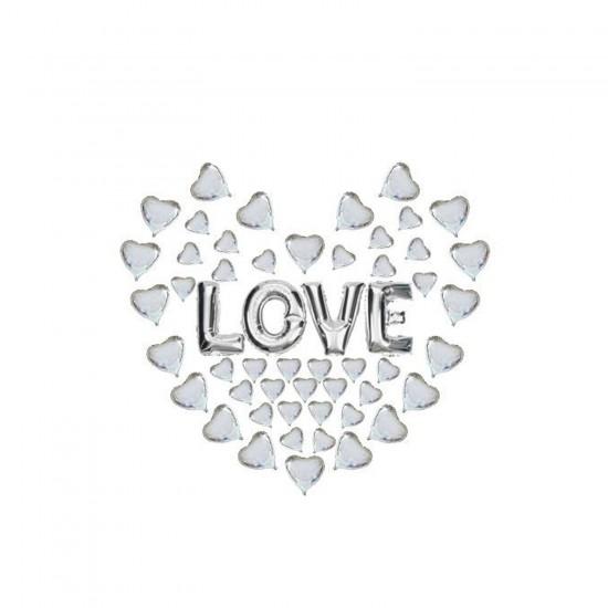 Folyo Balon LOVE Yazılı 49 Minik Kalpli Set