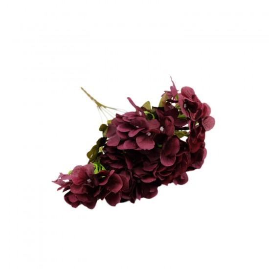 Gelin El Buketi Ortanca Modeli 7 Başlı Yapay Çiçek Demeti Lüx