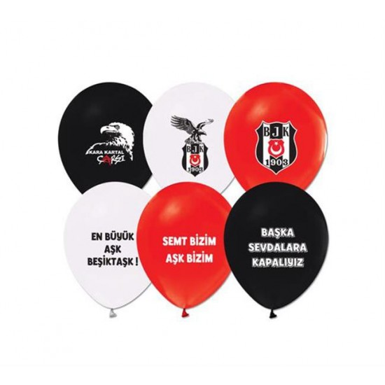 Beşiktaş  Temalı Balon 2+1 Baskılı Pastel Renk (20 Adet)