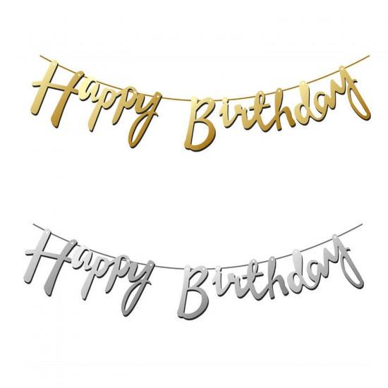 Karton Duvar Yazısı Metalize Happy Birthday Yazılı Uzar Set 98 CM
