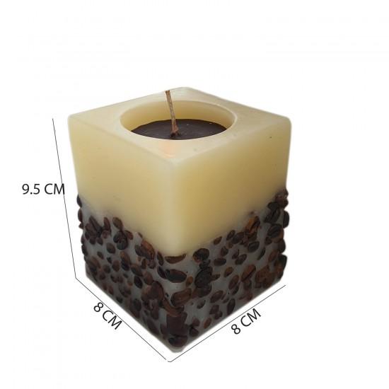 Dekoratif Mum Kahve Çekirdekli Temalı KARE Model 8X9.5 CM
