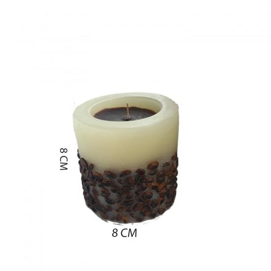 Dekoratif Mum Kahve Çekirdekli Temalı Silindir Model 8 CM