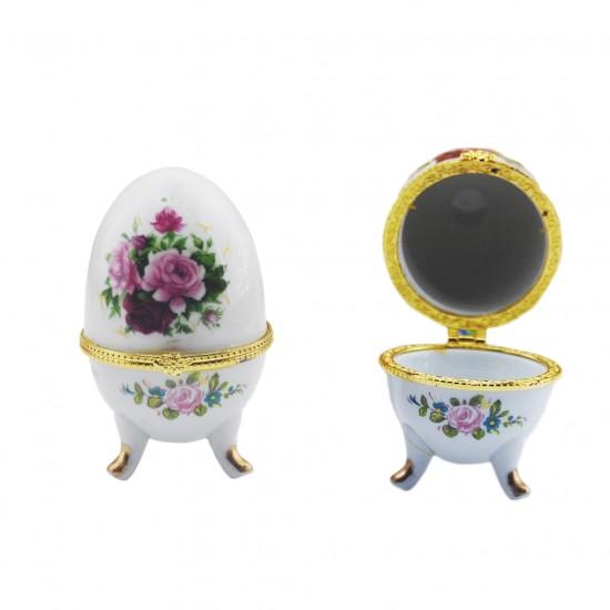 Yumurta Ayaklı Obje Seramik Çiçekli (10 Adet)