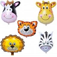 Safari Serisi Hayvanlar Temalı Folyo Balon 5 li Set