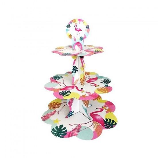 3 Katlı Karton Cupcake Standı Flamingo Temalı Kek Standı