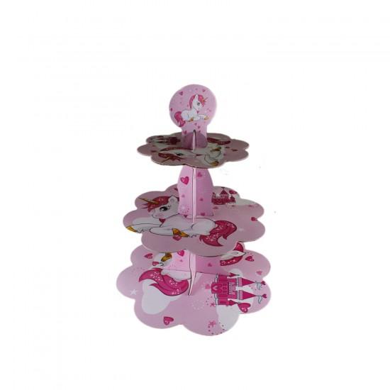 3 Katlı Çift Taraflı Cupcake Standı Unıcorn Temalı Kek Standı