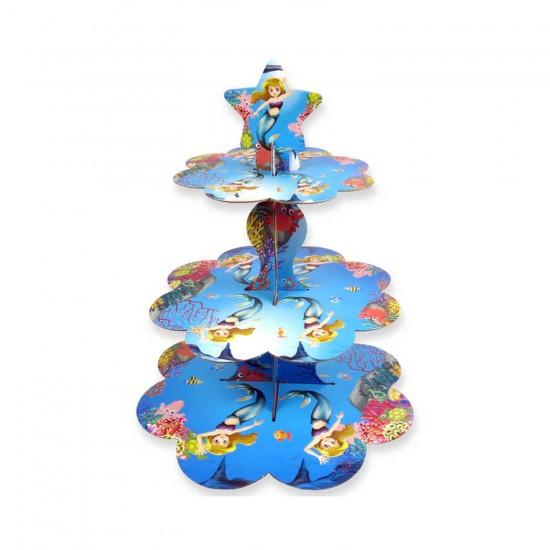 3 Katlı Karton Cupcake Standı Deniz Kızı Temalı Kek Standı