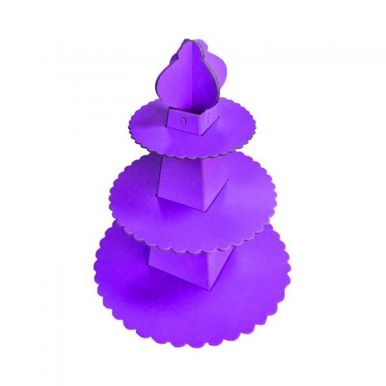 3 Katlı Karton Cupcake Standı Piramit Modeli Düz Renk Kek Standı