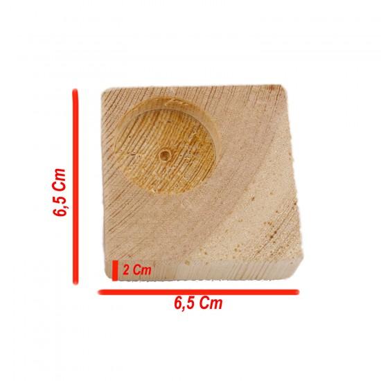 Ahşap Ağaç Kare Standart Tealight Mumluk 6.5X6.5X2 CM (10 Adet )