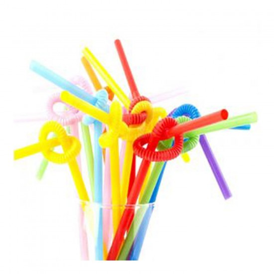 Pipet Artistik Straws 6 MM Plastik Karışık Renkli (50 Adet)