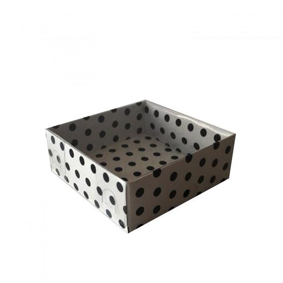 Asetat Kapaklı Karton Kutu Puantiyeli 8X8X3 CM (50 Adet)