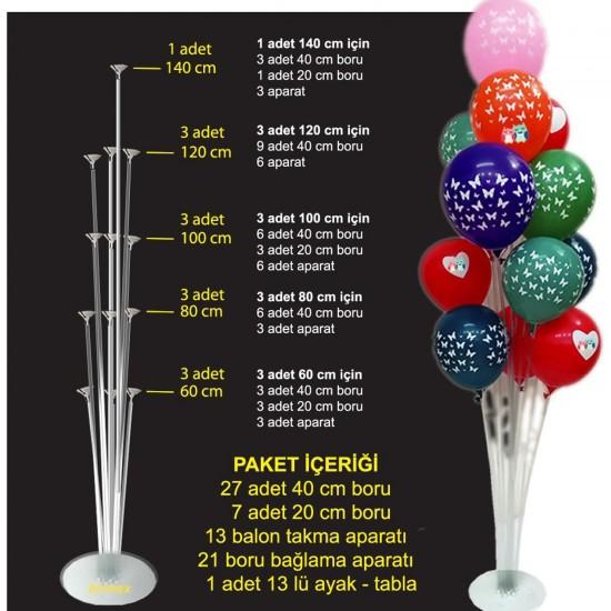 Ayaklı  Balon Süsleme Standı 13 Çubuklu Set 140 CM