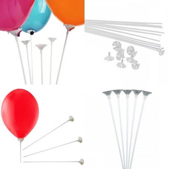 Balon Çubuğu Ve Huni Plastik 30 Cm (100 Adet)