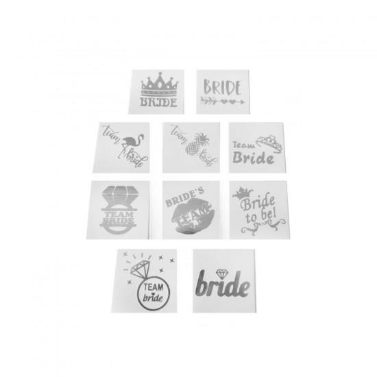 Bride To Be 10 Farklı Model Geçici Dövme Varak Baskılı