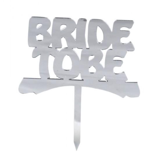 Bride Tobe Pasta Süsü Aynalı Pleksi Altın/Gümüş/Kırmızı