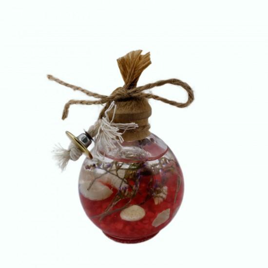 Cam Balon Kandil Şişesi Naturel Çiçek Süslü 40 CC (10 Adet)