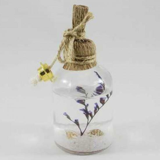 Cam Kandil Şişesi Naturel Çiçek Süslü 25 CC (10 Adet)