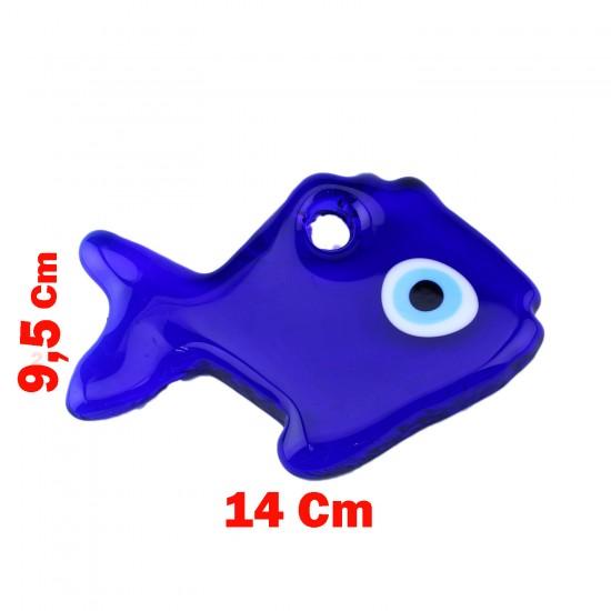 Cam Nazar Boncuğu Delikli Balık Modeli Büyük Boy