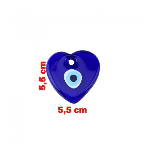 Cam Nazar Boncuğu Delikli Kalp Modeli Küçük