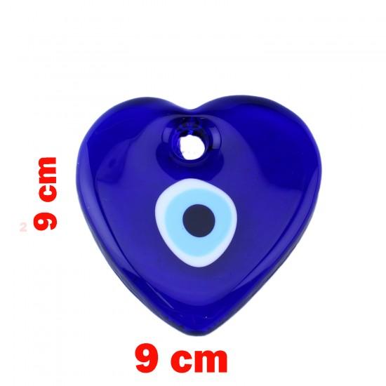 Cam Nazar Boncuğu Delikli Kalp Modeli Büyük Boy