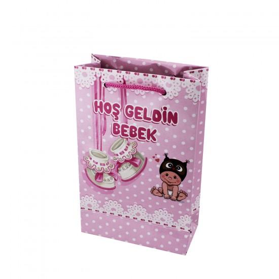 Çanta Karton Minik Boy Hoşgeldin Bebek Yazılı 11X17 (25 Adet)