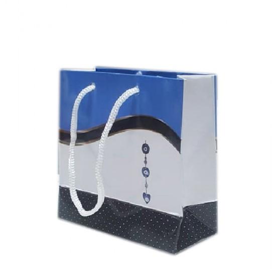 Karton Çanta Minik Boy Nazar Boncuklu 11X11 Cm (50 Adet)