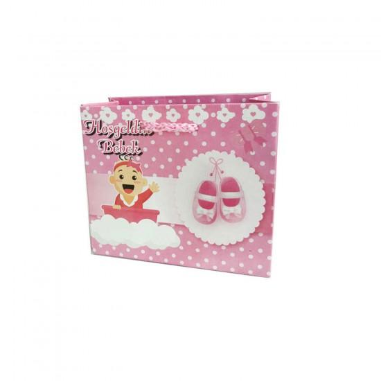 Karton Çanta Hoşgeldin Bebek Yazılı 11X11 Cm (50 Adet)