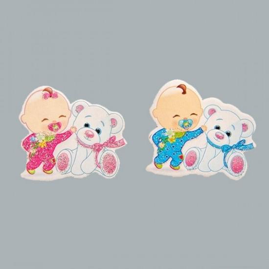 Sticker Bebek Ayıcıklı Ayakta Karton (50 Adet)