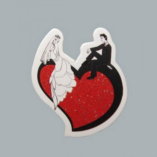 Sticker Gelin Damat Kalp Üstünde (50 Adet)