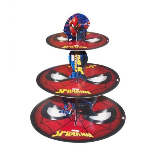 3 Katlı Karton Cupcake Standı Spiderman Temalı Kek Standı