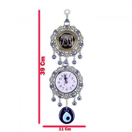 Duvar Saati Metal işlemeli Gümüş Nazar Boncuklu Allah Lafsı 39Cm