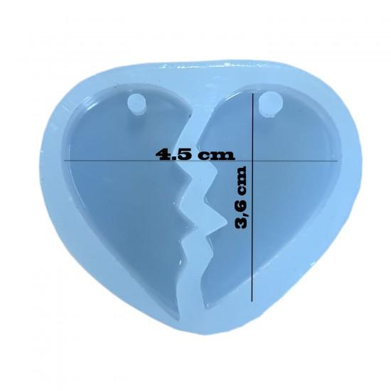 Epoksi Silikon Kolye Kalıbı  Çift Kalpli  Model 4.5 CM