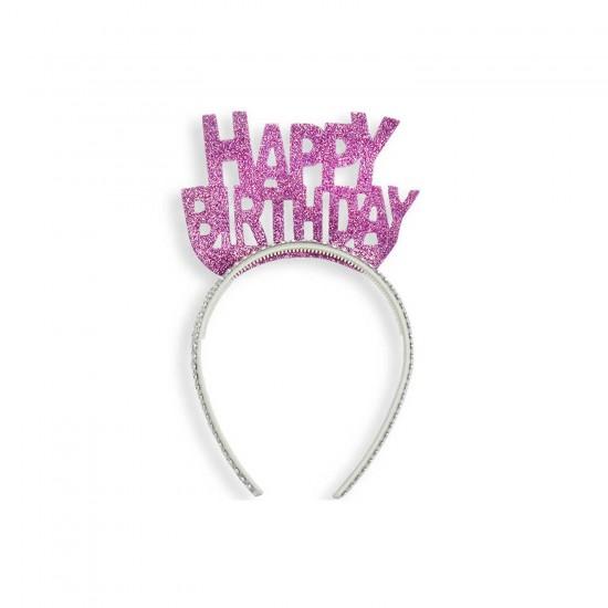 Evadan Taç Simli Kenarı Taş Süslemeli Happy Birthday Yazılı