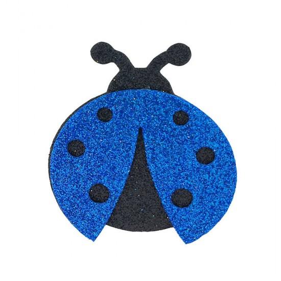 Evadan Uğur Böceği Simli 5.5 X 7 CM (25 Adet)