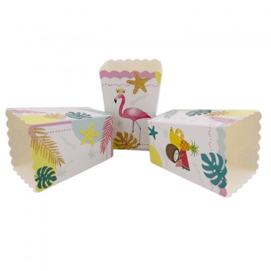 Flamingo Temalı Karton Popcorn Kutusu Mısır Kutusu (10 Adet)