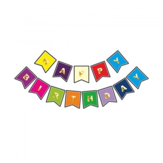 Flama Karton Bayrak Happy Birthday Yazılı Uzar Set 250 CM