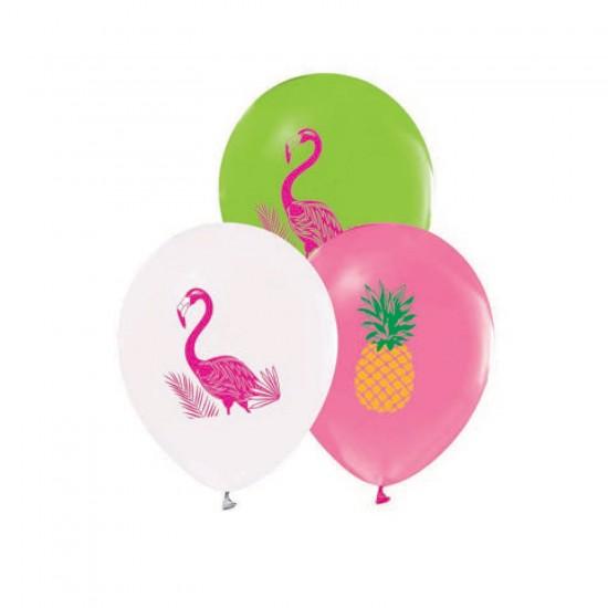Flamingo Temalı Baskılı Balon 12 İnç (20 Adet)