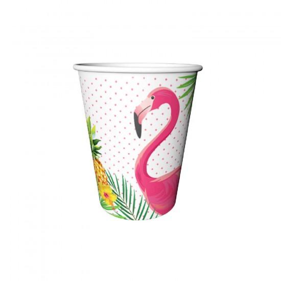 Flamingo Temalı Karton Bardak 220/240CC  (8 Adet)