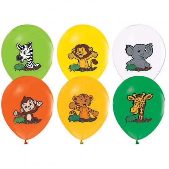 Sevimli Hayvanlar Baskılı Balon Safari Serisi 12 İnç (20 Adet)