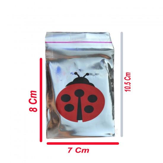 Hediye Paketi İçin Uğurböcekli Yapışkanlı Poşet 7X9CM (100 Adet)