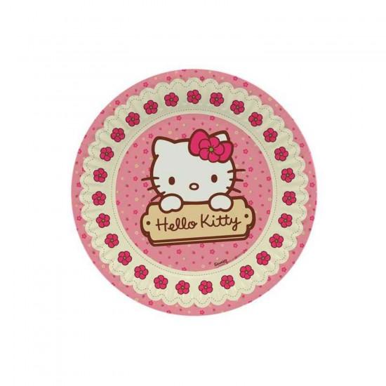 Hello Kitty Temalı Karton Tabak 23 Cm (8 Adet)
