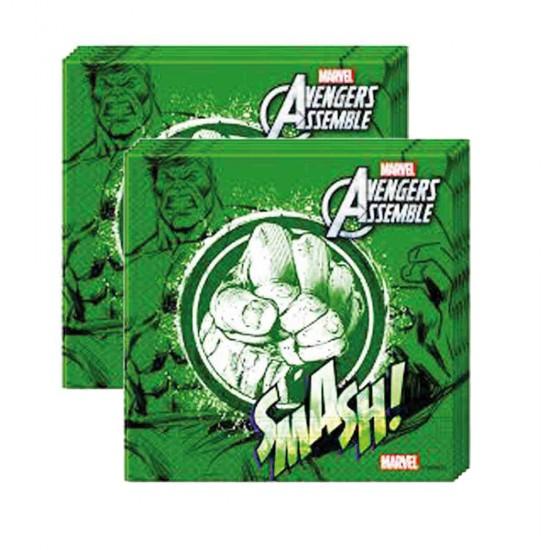 Hulk Temalı Kağıt Peçete 33X33 Cm (20 Adet)