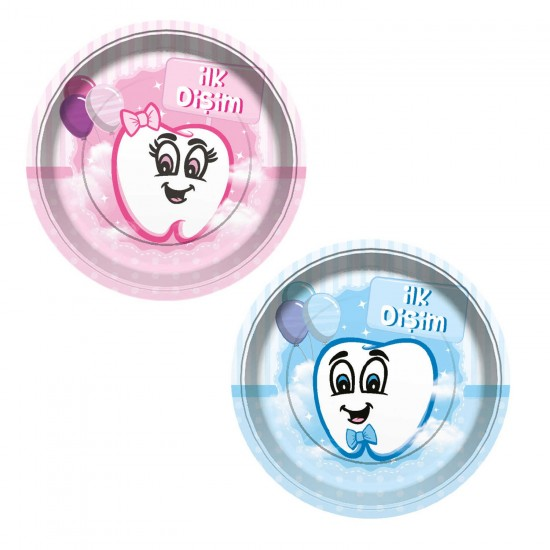 İlk Dişim Balon Baskılı Karton Tabak 23 CM (Diş Buğdayı) (8 Adet)